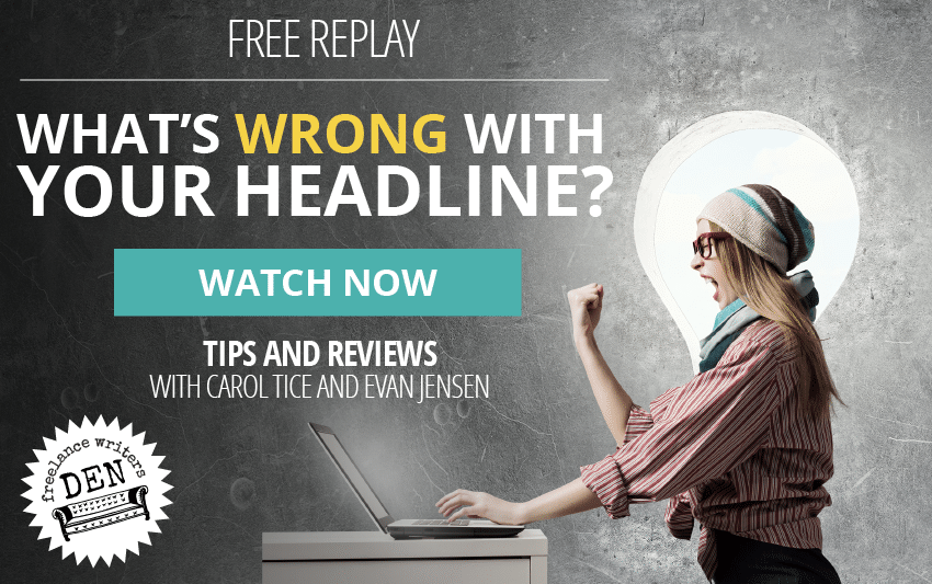 WATCH NOW: What's Wrong With My Headline? A Live Chat With Carol Tice And Evan Jensen